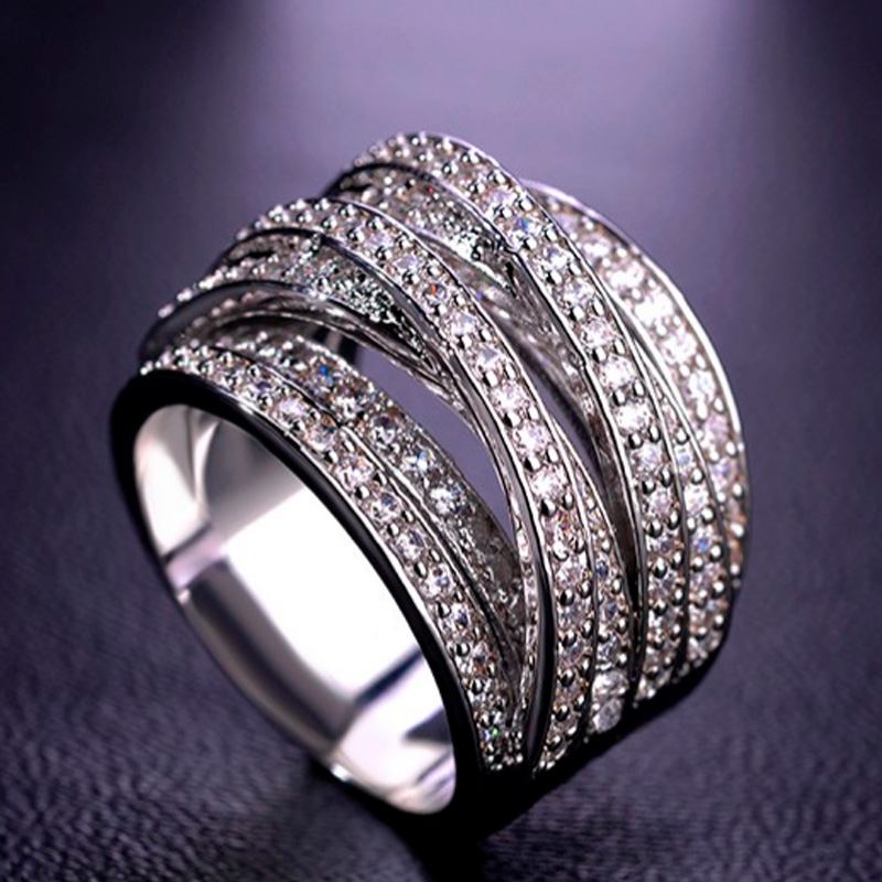 Blucome Champagne Bridal Zircon Ring For Women Anniversary Accessories Fashion Women's Copper Wedding Rings For Bridal Jewelry