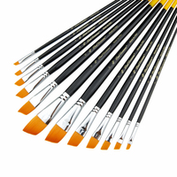 Luxury Top Quality Long Oil Painting Brush 12pcs Nylon Hair Watercolor Pen Landscape Art Drawing Pen Brush Set