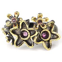 New Arrival Vintage Style Green Peridot SheCrown Womans Gift Black Gold Silver Ring 20x12mm