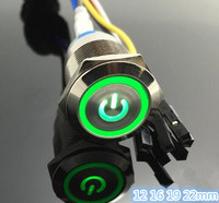 1 Set High Quality Computer Metal LED Power Push Button Switch On Off 5V 12mm Waterproof