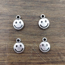20pcs Silver Smiley face Charms 10.5*8mm Tibetan Silver Plated Pendants Antique Jewelry Making DIY Handmade Craft(China)