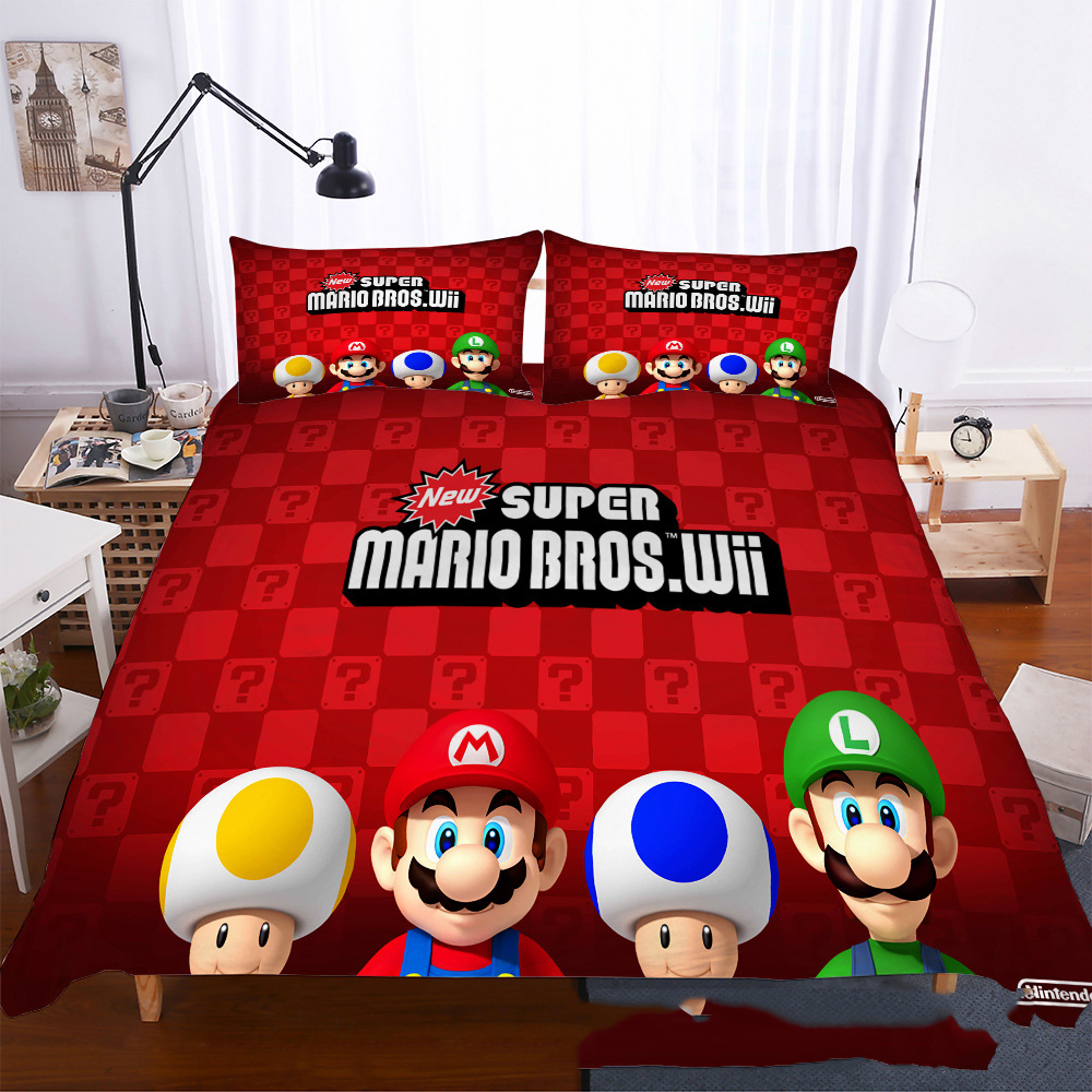Super Mario Bedding Set Microfiber Duvet Covers Set Cartoon Family Bed Linen Set Pillowcase Kids Room Decor 2/3pcs Bedclothes