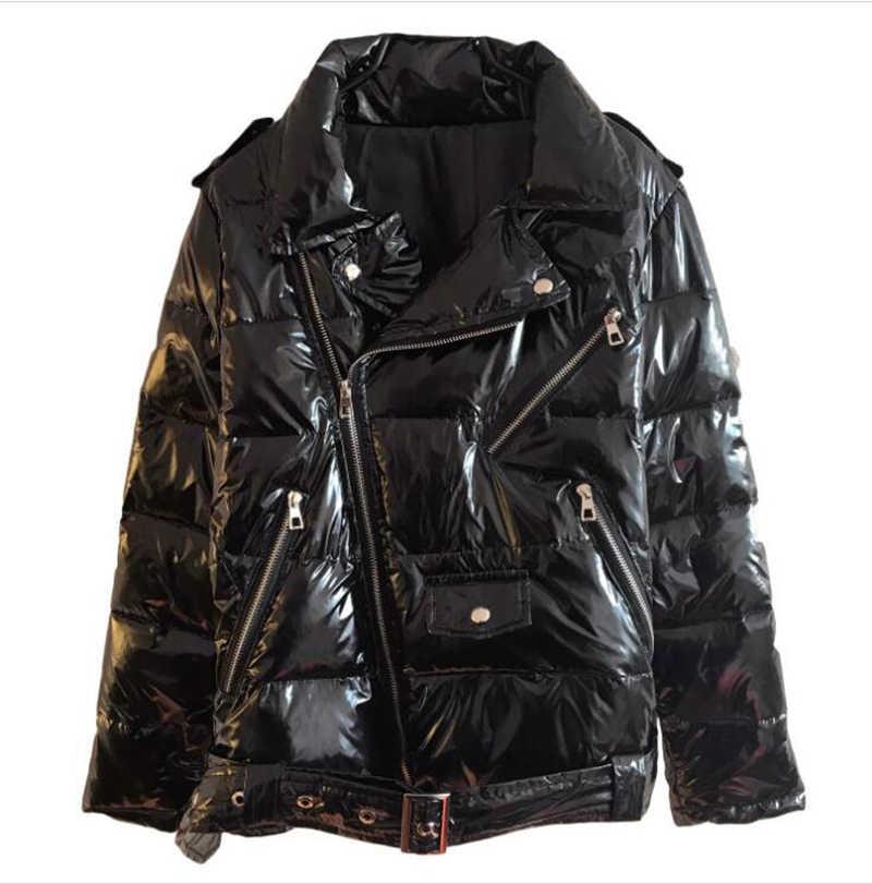 Ciepłe skóry lakierowanej błyszczący Parka kobiety czarny kurtka z zamkiem kobiety wiatrówka płaszcz 2019 zima błyszczący Parka puchowa dla kobiet
