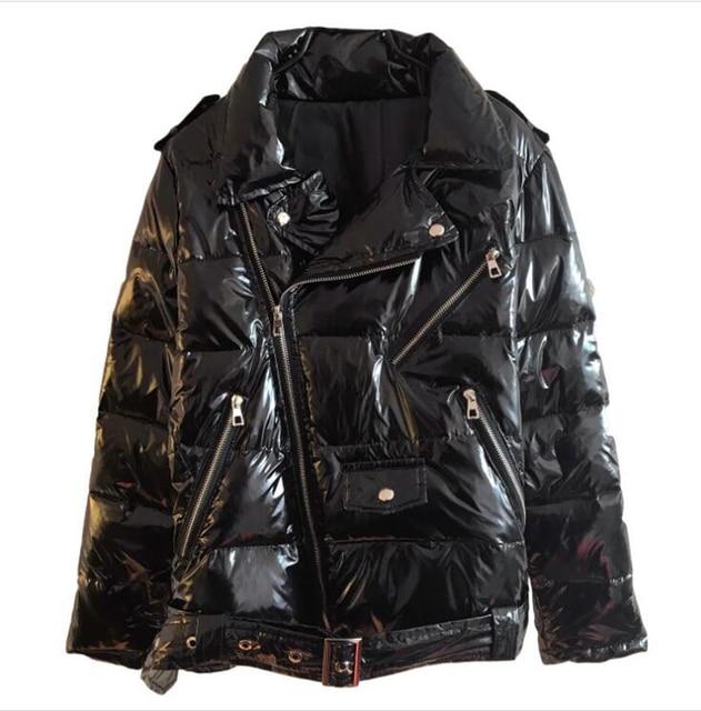 חם פטנט עור מבריק Parka נשים שחור רוכסן מעיל נשים מעיל רוח מעיל 2019 חורף מבריק למטה Parka עבור Wome
