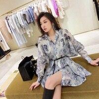 2019 New arrive women animal print shirt dress with belt long sleeve vintage chic casual dresses vestidos