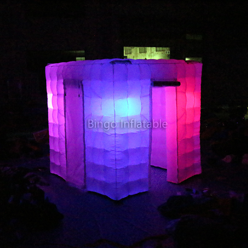 inflatable photobooth tent with led,TWO Doors Inflatable Portable Photo Booth Tent with Free Props Kit 2.4m 8ft. BG-A0693toytent wonderful cube led inflatable tent inflatable trade show house inflatable photo booth toy tent