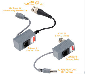 Image 5 - 10pcs CCTV Camera Accessories Audio Video Balun Transceiver BNC UTP RJ45 Video Balun with Audio and Power over CAT5/5E/6 Cable