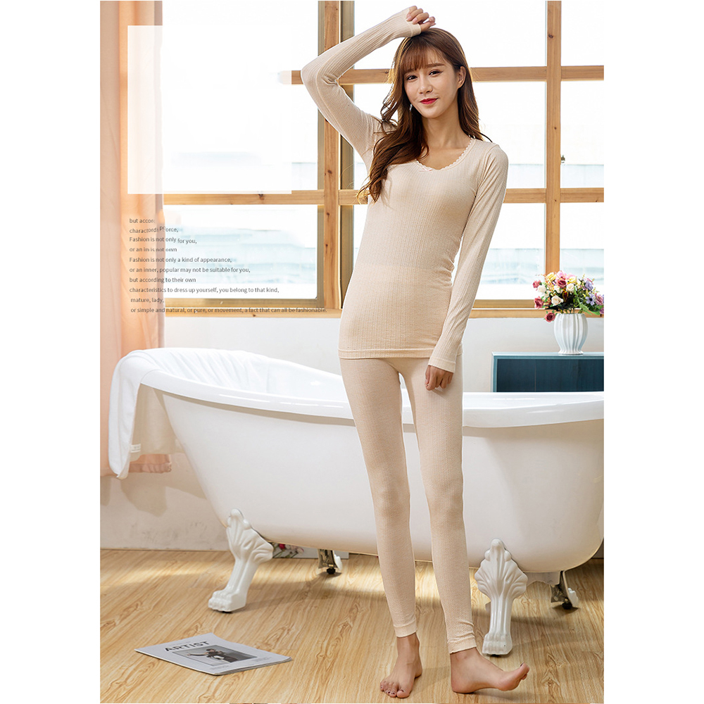 Women Winter Warm Solid Seamless Pants Top Suit Lace O-Neck Long Sleeve Underwear Pajamas Female Velvet Thick Pajamas Slim Fit