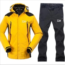 2018 New Dayiwa Men Fishing Clothes  Sets Outdoors Sports Wear Set Hiking Windproof Clothing Fishing Jacket& Pants winter outdoor fishing clothing camouflage sports men pants sports men jacket and pants fleece warm windproof for fishing