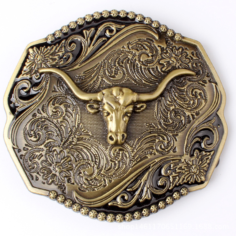 Large Retro Long Horned Bull Belt Buckle Individual Belt Head Suitable For 3.8CM Belt For Smooth Buckle