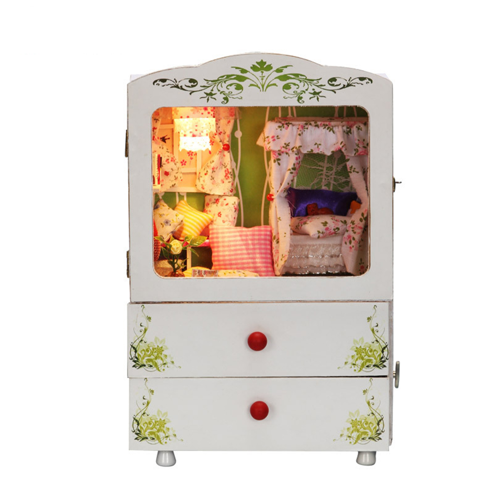 DIY Miniature Room Wooden Doll House Lady Love with Furniture LED Lights Music Box Dollhouse Toys for Children