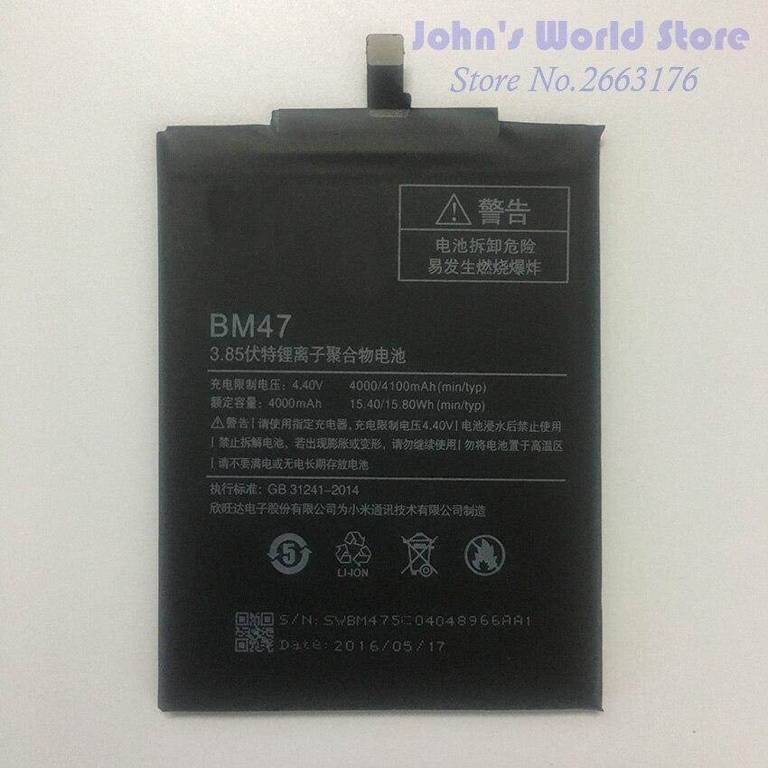 Für Xiaomi Redmi 3 S Batterie BM47 Hohe Qualität Große Kapazität 4000 mAh 4X Batterie Ersatz Für Redmi 3X Hongmi 3 S Smartphone