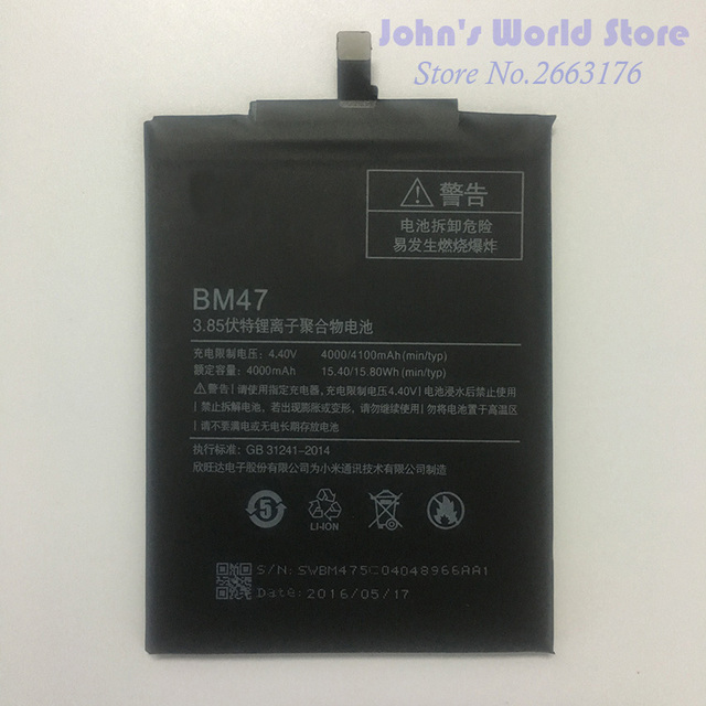 For Xiaomi Redmi 3S Battery BM47 High Quality Large Capacity 4000mAh Battery Replacement For Redmi 3X Hongmi 3 S Smart Phone