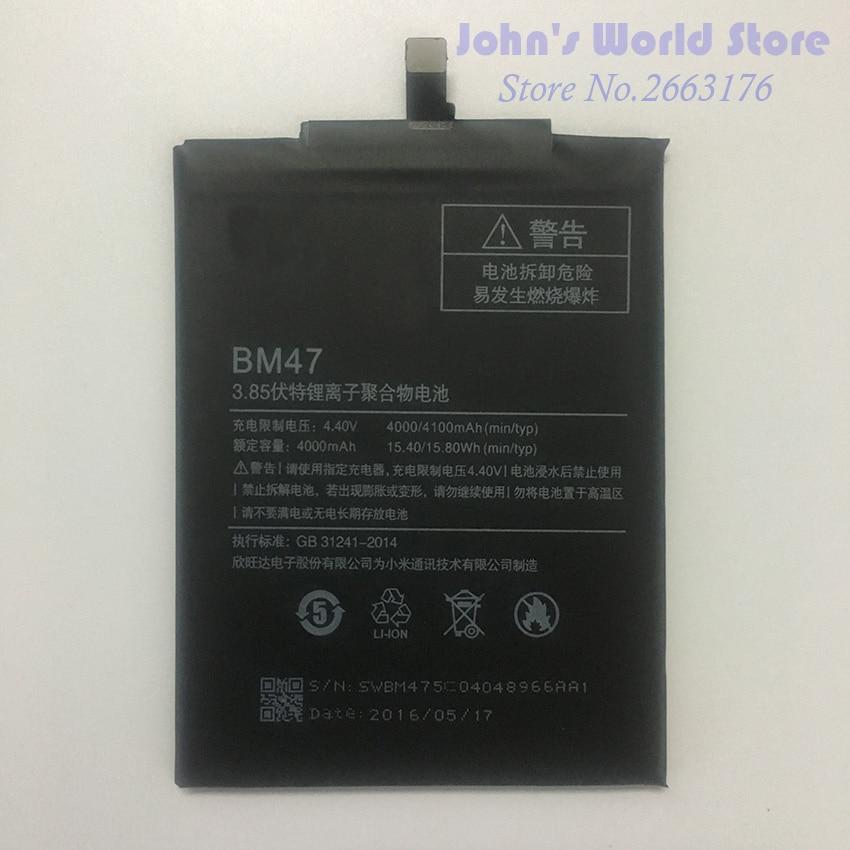 Para Xiaomi Redmi BM47 3 S Bateria de Alta Qualidade Grande Capacidade de 4000 mAh Bateria de Substituição Para Hongmi Redmi 3X 4X 3 S Telefone Inteligente