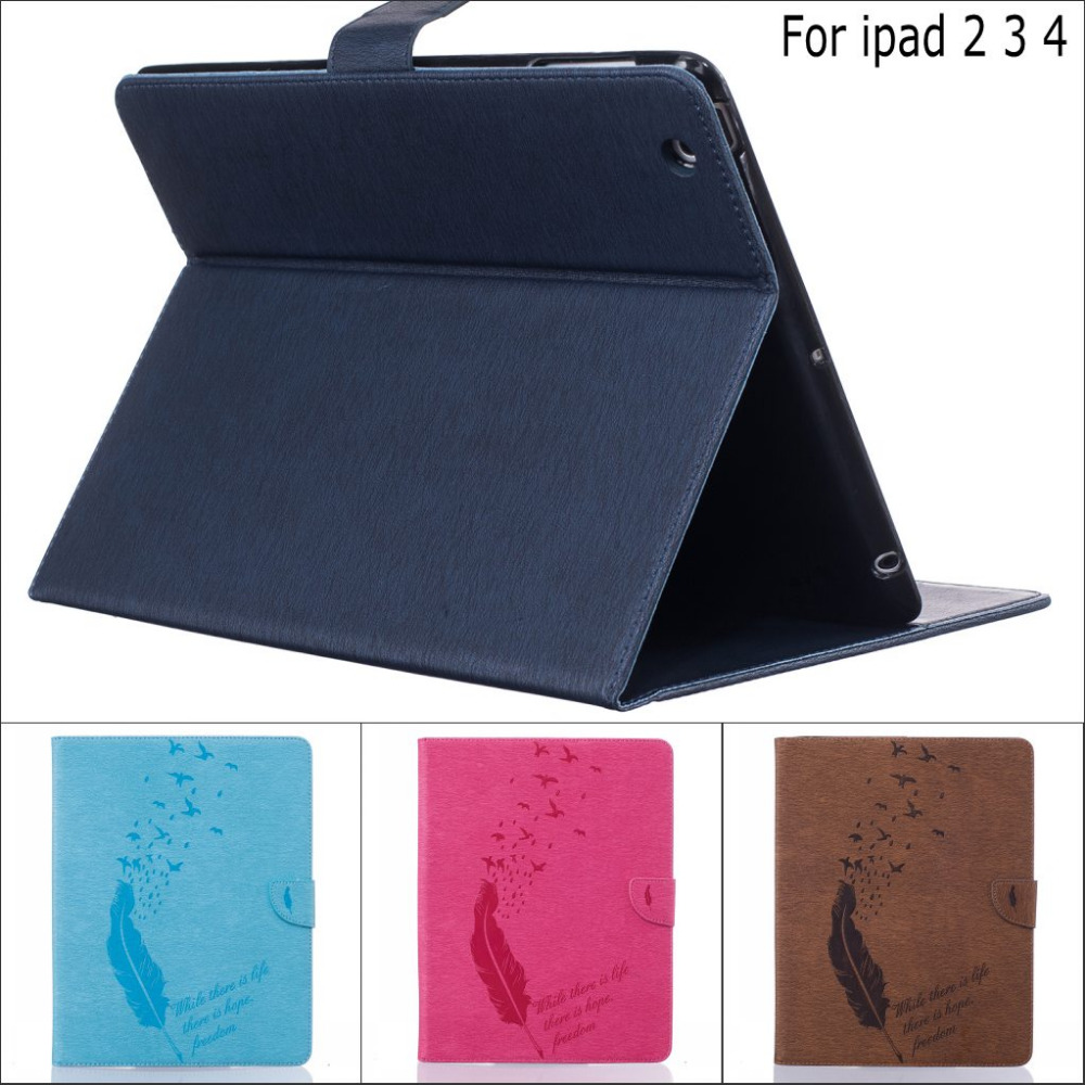 Fashion business Feather Little Bird flower wallet card leather Stand cover Case for ipad 2 3 4 ipad3 ipad4 with stylus pen gift