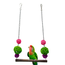 1 pcs Birds Stand Swing Wood Sepak takraw Bite Standing Bar For Medium Big Parrot Parrotlet Chewing Ball Bird Toy Supplies