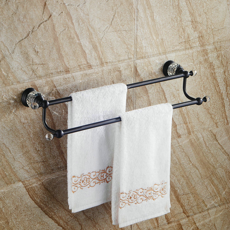 Solid Brass Towel rack Black Towel bar Bathroom Accesseries Wall Mounted Oil Rubbed Bronze Double Bar