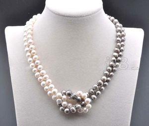 7-8MM natural del sur del Mar Blanco gris perla collar 18 pulgadas
