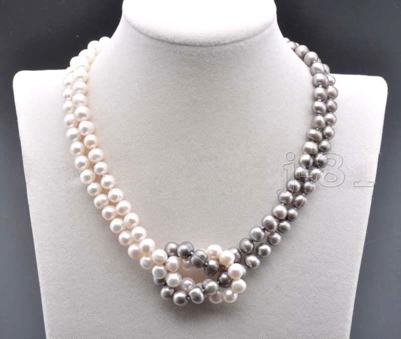 7-8mm NatÜrliche SÜdsee Weiß Grau Perle Halskette 18 Zoll Attraktive Designs;
