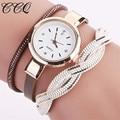 CCQ Women Braided Watch Luxury Crystal Leather Gold Bracelet Watch Wristwatch Casual Girl Quartz Watch 2001