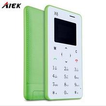 Оригинал Новое поступление ультра тонкий AIEK/aeku X6 мини сотовый телефон карты студент разблокирован мини мобильный телефон карман multi язык