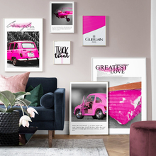 Wall Art Canvas Painting Pink Classical Car Boat Quotes Nordic Posters And Prints Vintage Pictures For Living Room Decor