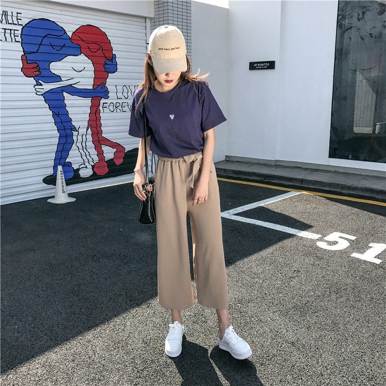 19 Women Casual Loose Wide Leg Pant Womens Elegant Fashion Preppy Style Trousers Female Pure Color Females New Palazzo Pants 8