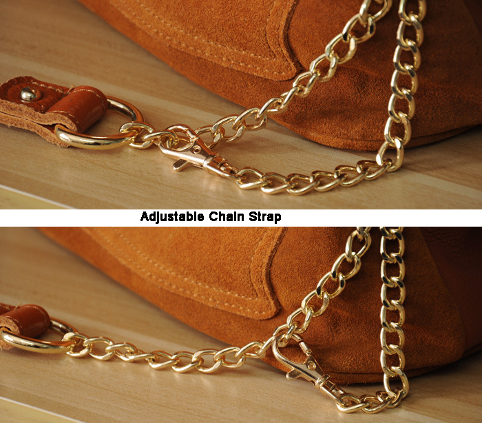 Women Genuine Leather Fringe Shoulder Bags Fashion Cow Suede Tassel Brown Chain Multi Pockets Crossbody Bucket Bags (14)