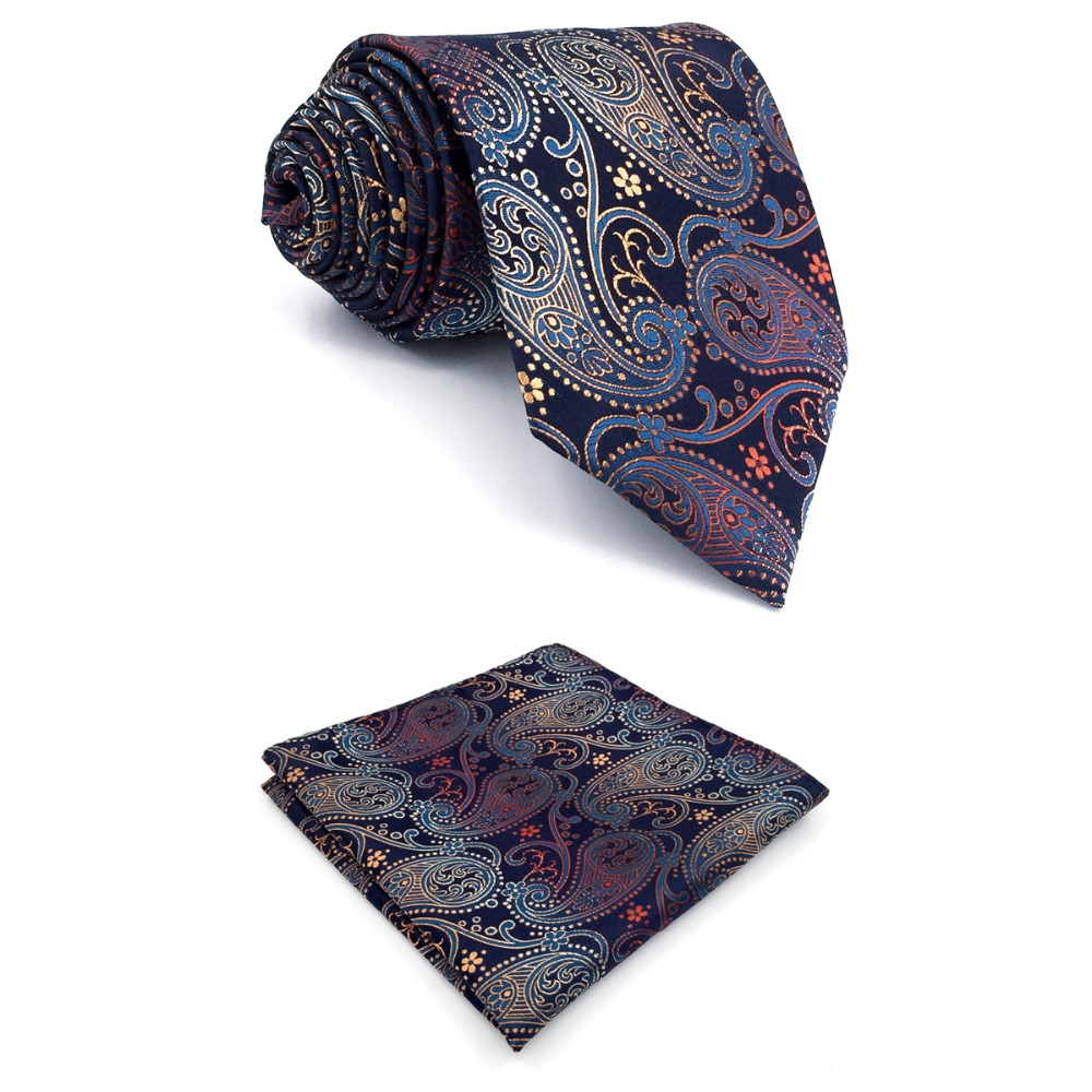 B26 Multicolor Paisley Silk Mens Necktie Set Wedding Fashion Ties for male Dress Hanky extra long size 63