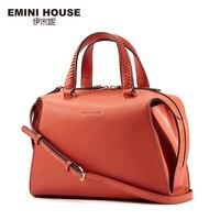 EMINI HOUSE Stylish Knitting Handle Shoulder Bag Split Leather Women Handbags High Capacity Crossbody Bags For