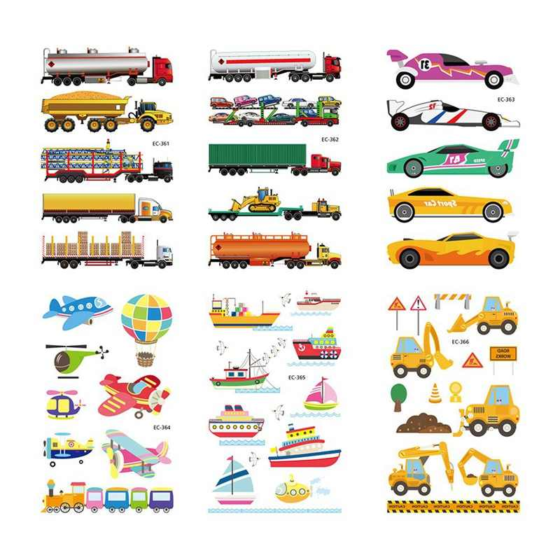 1 Piece Cartoon Car Airplane Temporary Body Arts, Flash Tattoo Stickers 17*10cm, Waterproof Children Loves Toy Tatoo