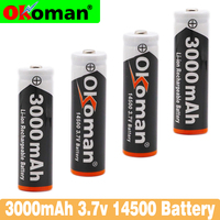 2-20PCS Okoman AA 14500 3000mah 3.7 V lithium ion rechargeable Li-ion Battery batteries and LED flashlight, free delivery
