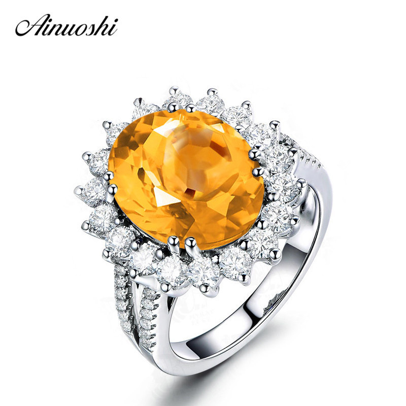 AINUOSHI Big Natural Citrine Flower Ring 5 Carat Oval Cut Gemstone 925 Sterling Silver Ring Engagement