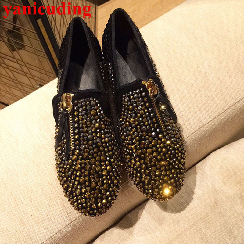 Front Zipper Decor Slip On Women Flats Chaussures Femmes Casual Shoes Low Top Bling Crystal Metal Embellish Brand Zapatos Mujer vtota women flats zapatos mujer plataforma 2017 new casual flat shoes chaussures femmes women slip on loafers shoes woman b57