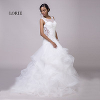 LORIE Mermaid Wedding Dresses Lace White O Neck Appliques Ruffles Organza Lace Up Sexy Bride Dress Wedding Gown With Small Train