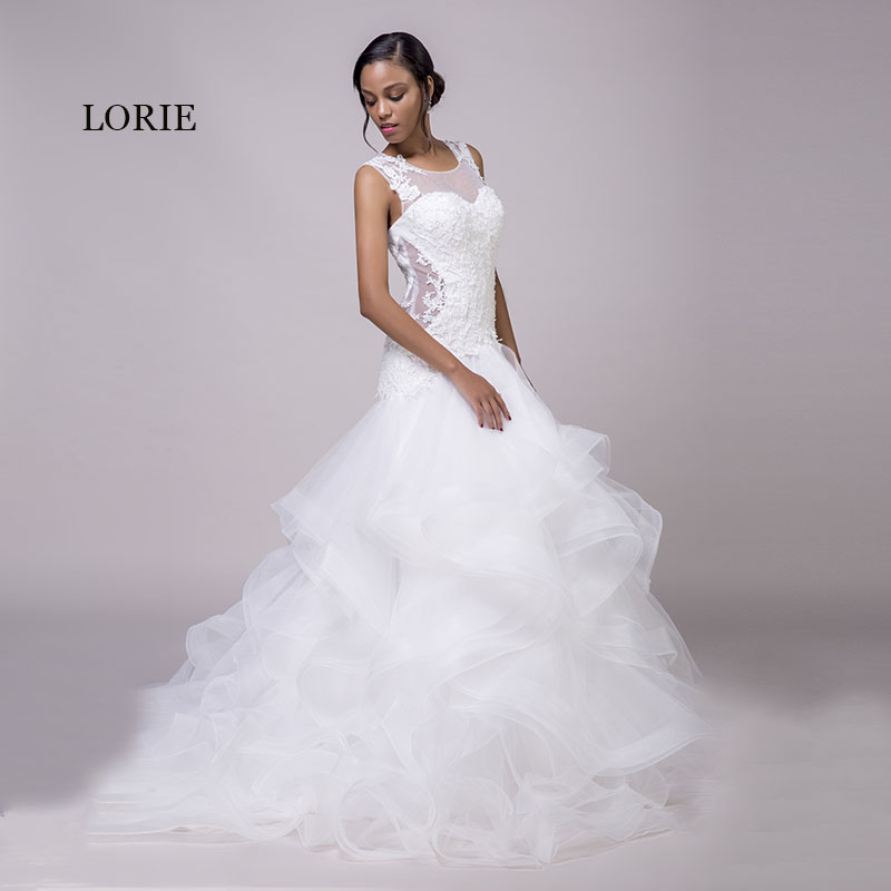 LORIE Mermaid Wedding Dresses Lace White O-Neck Appliques Ruffles Organza Lace Up Sexy Bride Dress Wedding Gown With Small Train