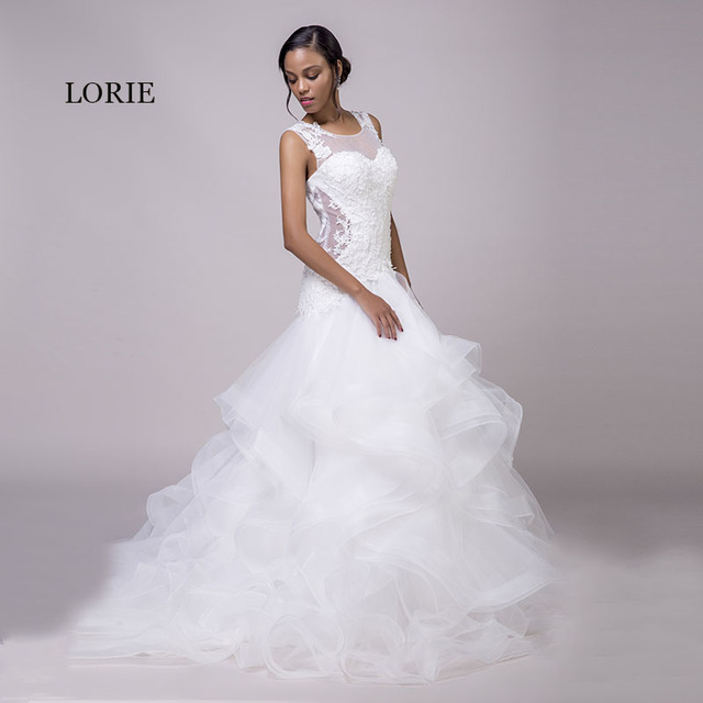 Lorie Mermaid Wedding Dresses Lace White O Neck Appliques Ruffles
