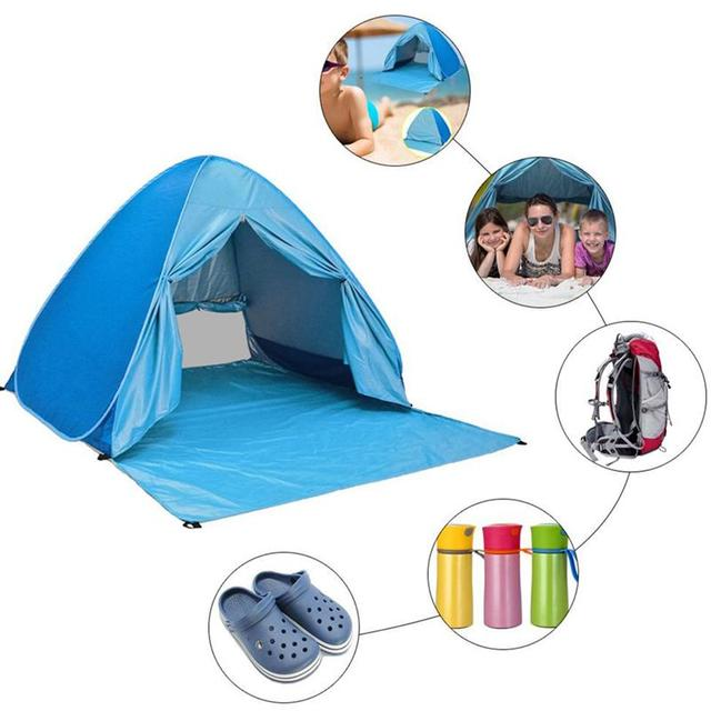 timeless design edc07 09bc5 US $31.64 29% OFF|Beach Tent Pop Up Sun Shelter Easy Up Beach Tent Sun  Shade Shelters Canopy Cabana Lightweight Beach Backpacking Pop Up Tents-in  ...