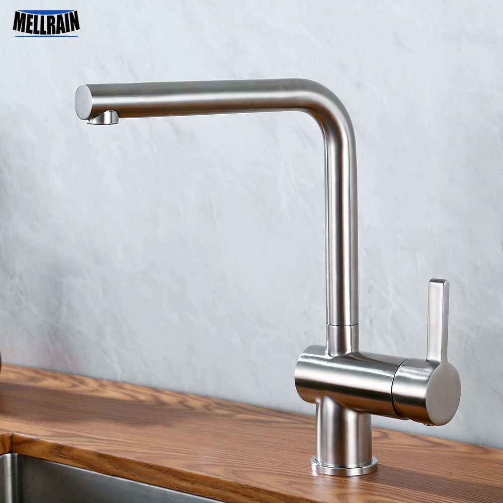 Hot And Cold Water Mixer Kitchen Sink Faucet Stainless Steel Brushed Deck Mounted Solid Faucet Single
