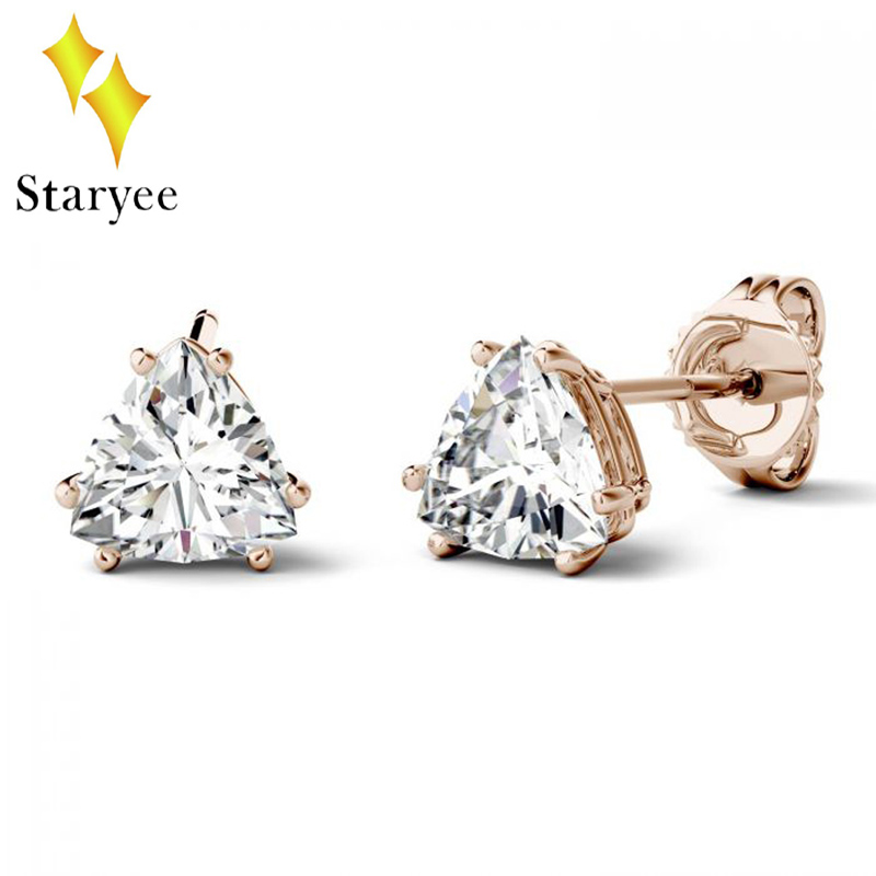 Forever One 1CT 14k Solid Rose Gold Trillion Cut Moissanite Solitaire Stud Earrings For Women Female Wedding Party Jewelry 2018 18k rose gold women stud earrings double balls fine engaged wedding jewelry fashion female delicate gift hot sale trendy party
