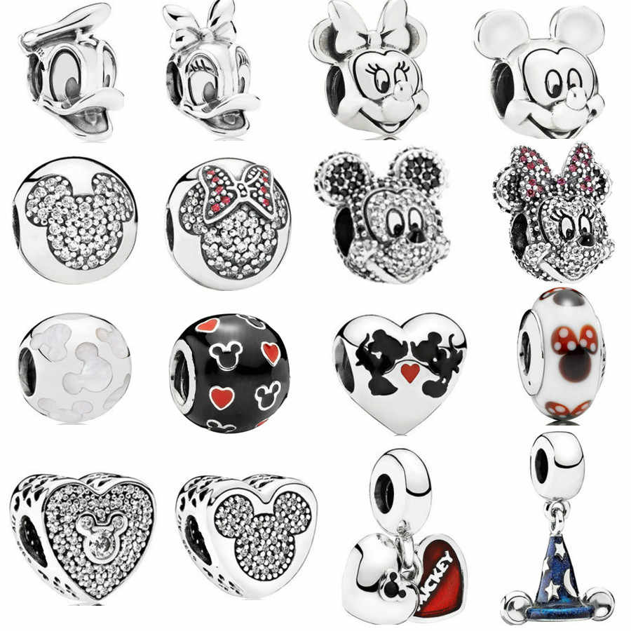 da26ae184 Pave Minnie & Mickey Portrait Vintage Daisy Duck & Donald Duck Beads Fit  Pandora Bracelet 925
