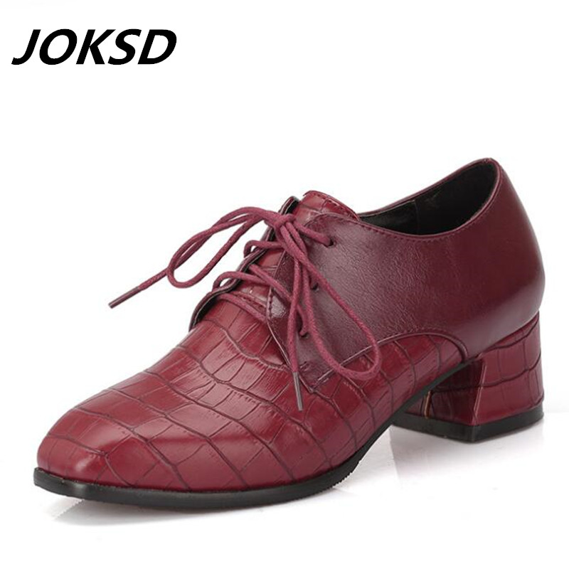 Joksd Britannique Chaussures Up Rétro Doux En Lace Noir blanc 133 Derbies Femmes Cuir Plat Talon Printemps Richelieus Style Casual Oxford rouge 0OwPnk