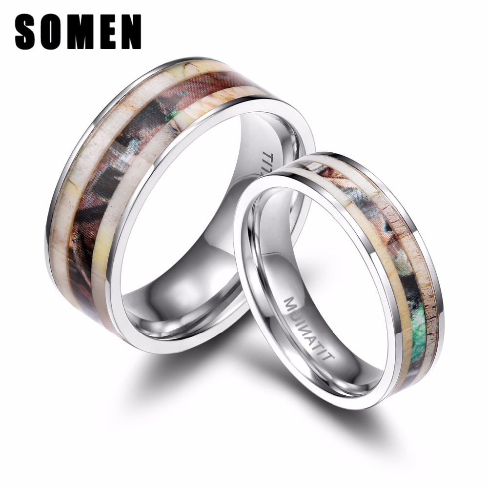 6mm 8mm Titanium Ring Men Women Wedding Band Deer Antlers Camouflage Inlay Couple Rings Anel Male Jewelry Comfort Fit In From Accessories