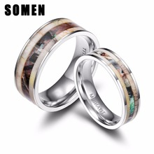 1pcs 6mm 8mm Titanium Ring Men Women Wedding Band Deer Antlers Camouflage Inlay Couple Rings anel Male Jewelry Comfort Fit