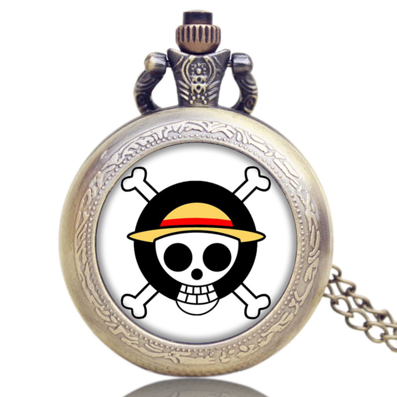 Small Japanese Animation One Piece Kull Symbol Design Quartz Pocket Watch With Chain Necklace Best Gift For Women Mens