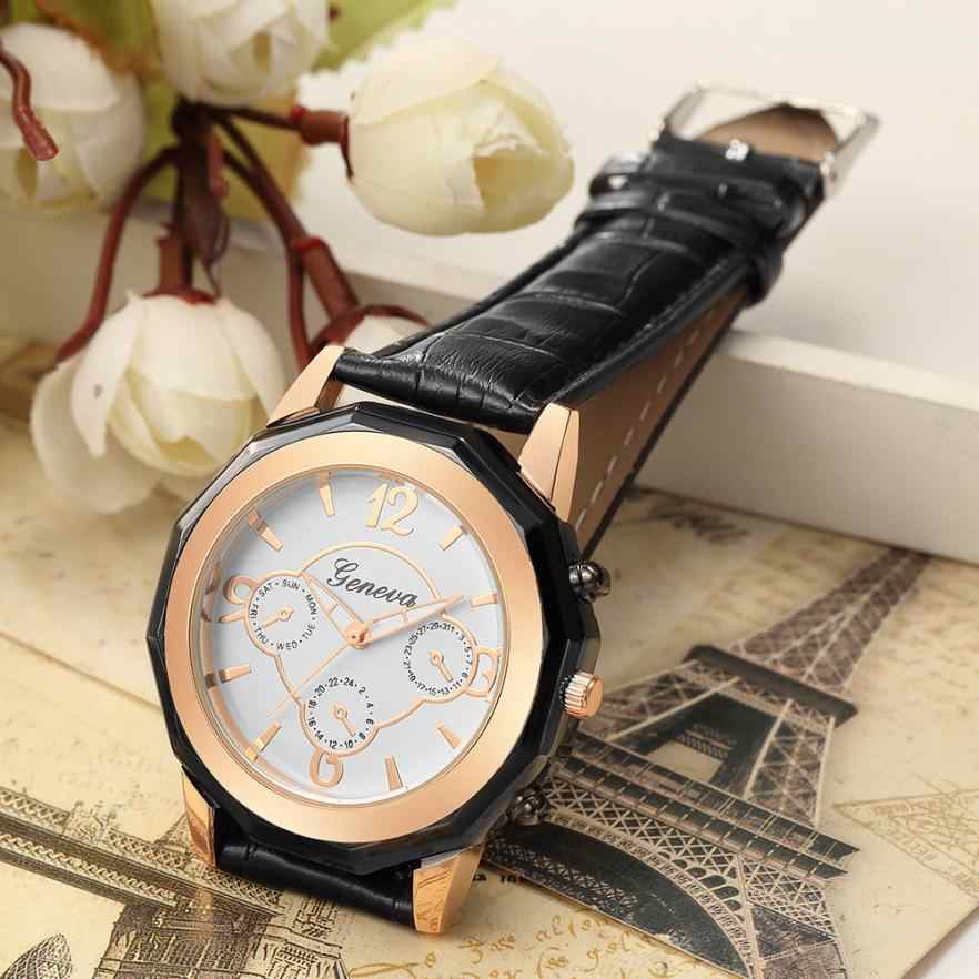 Three Eyes 2018 New Fashion Women Leather Band Casual Watch Luxury Analog Quartz Crystal Business Wristwatches Dropshipping 30