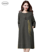 2016 Summer Ethnic Style Embroidery Dress Cotton Linen O Neck Solid Color Long Dress Women Half