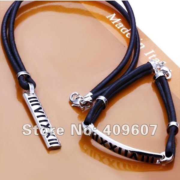 Best price! fashion black leather necklace & bracelet jewellery set with Roman numerals silver plate free shipping LJS001