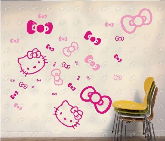 free shipping & cartoon hello kitty wall sticker, decorative sticker