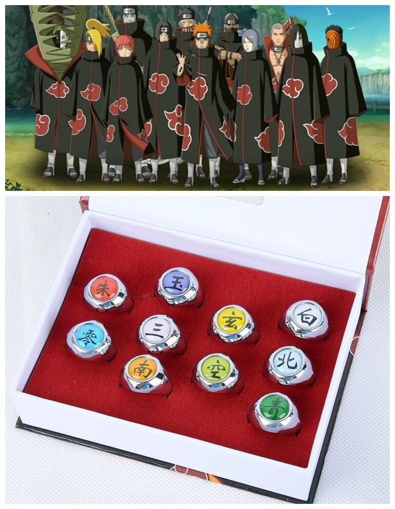 10style Anime HOKAGE Naruto Asatsuki cosplay Rings Sasori Itachi Hidan Deidara Pein accessories Prop billetera sailor moon